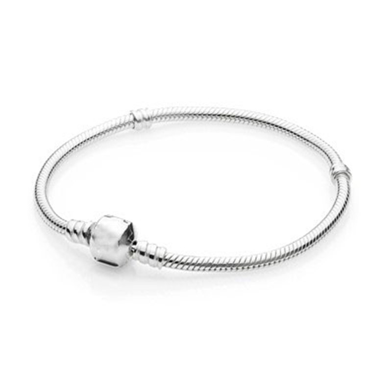 Original Authentic 925 Sterling Silver Bead Charm Chain Fit Pandora Silver Bracelet with Silver Clasp for Women DIY Jewelry Gift original 100% authentic 925 sterling silver bead charm chain fit pandora moments pave silver bracelet for women diy jewelry gift