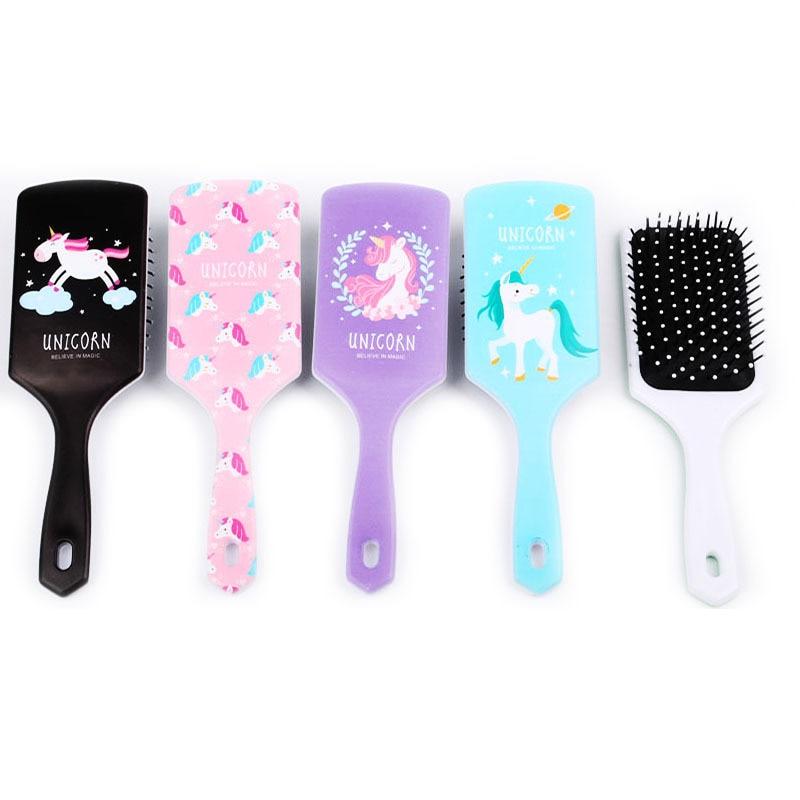 1PCS Unicorn Cute Animal Anti-static Hair Brush Massage Comb Shower Wet Detangle Hair Brush Salon Hair Styling Tools