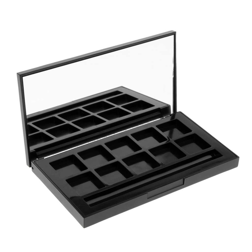 10 Grids Black Cosmetic Empty Eyeshadow Case Powder Blusher Lipstick Makeup Case Highlighters Container Mirror Inside