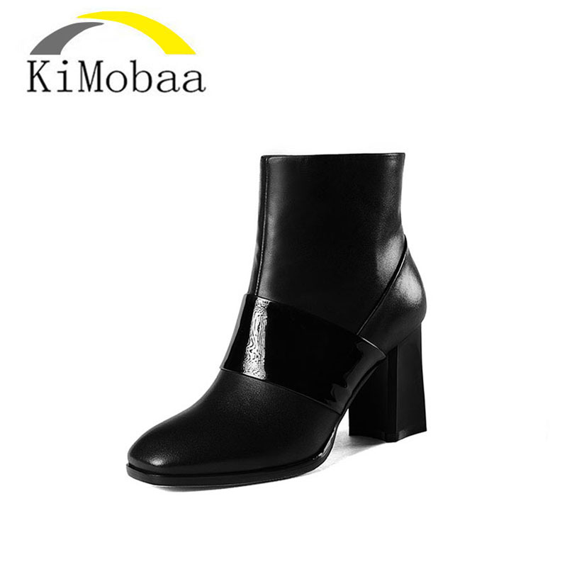 Kimobaa Genuine Leather Women Ankle Boots Black Mixed Color Zip Winter Boots Cow Leather low Cut Shoes Woman Size 33-43 TX45 rubber cement euro winter shoes woman sleeve side zip chains riding genuine leather boots women solid color cowhide flat with