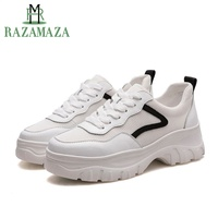 RAZAMAZA Women Wedges Sneakers Genuine Leather Platform Casual White Shoes For Women Outdoor Brand Fitness Sneaker Size 35 39