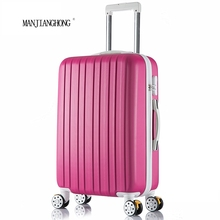 26 inch New surface like sandpaper stripes trolley suitcase/ 20″ boarding luggage/10Colors universal wheels trolley candy