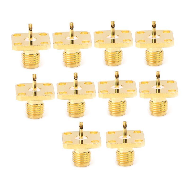 10 pièces/ensemble SMA femelle châssis panneau de montage 4 trous poste Terminal RF connecteur Coaxial adaptateur 5mm