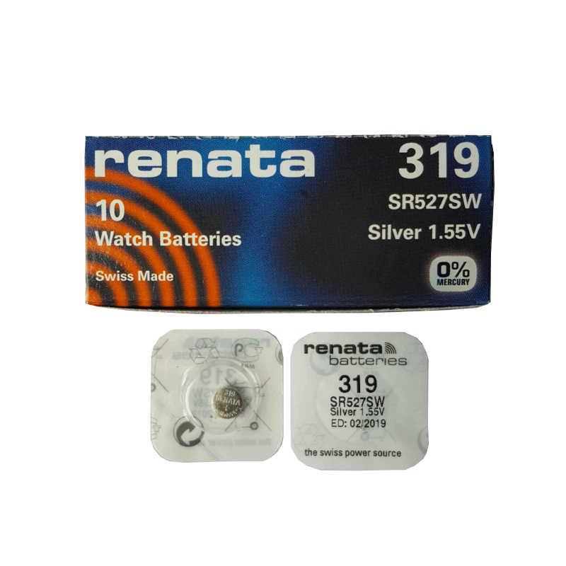 5ピース/ロットレナータ長続き319 sr527sw SR527 v319時計電池ボタンコイン電池