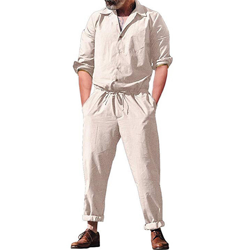 8d489fb5d4f1 Men s Long Romper Sleeve Casual Cargo Pants Jumpsuit Siamese loose Trousers  Playsuit men casual jumpsuits solid sets-in Men s Sets from Men s Clothing  on ...