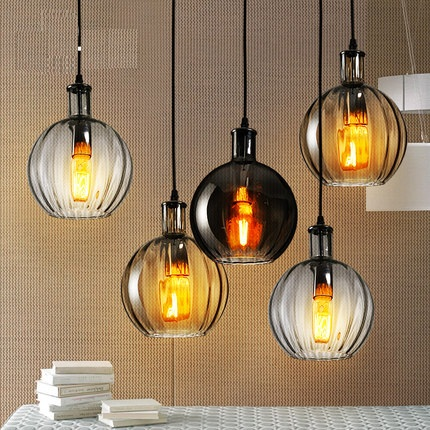 Loft Style Creative Retro Glass Droplight Edison Vintage Pendant Light Fixtures Dining Room Hanging Lamp Home Indoor Lighting iwhd loft style round glass edison pendant light fixtures iron vintage industrial lighting for dining room home hanging lamp