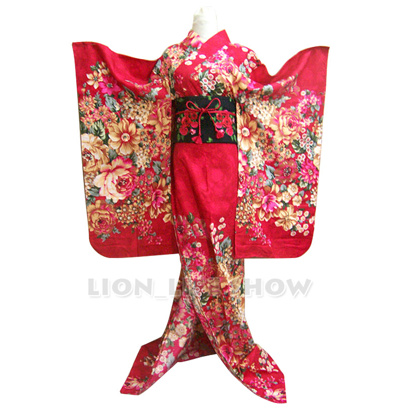 Japanese Women Rose Red Pink Floral Long Furisode Kimono Cosplay Costume