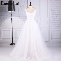 Erosebridal New Arrival 2019 White Wedding Dress V Neck Wedding Gown Lace Beading Bride Dress Simple vestido de noiva for Women