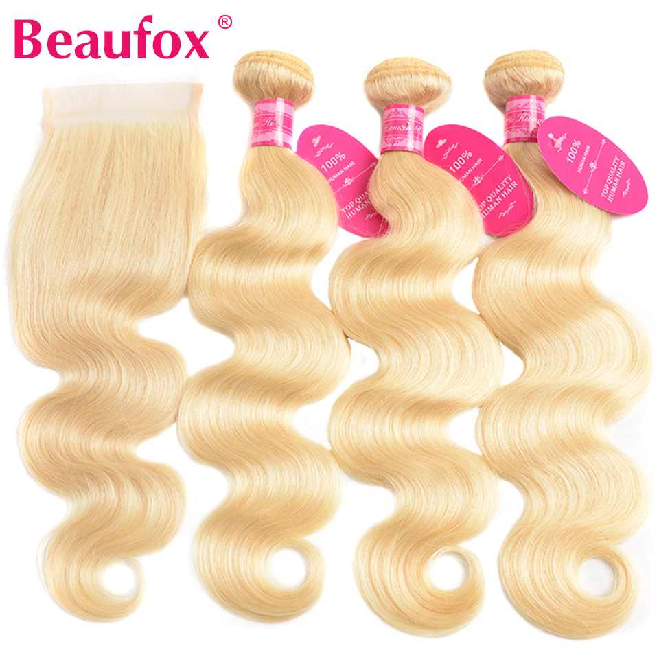 Beaufox Brazilian Body Wave 3 Bundles With Closure 613 Blonde Human Hair Bundles With Closure Remy 613 Hair Extensions