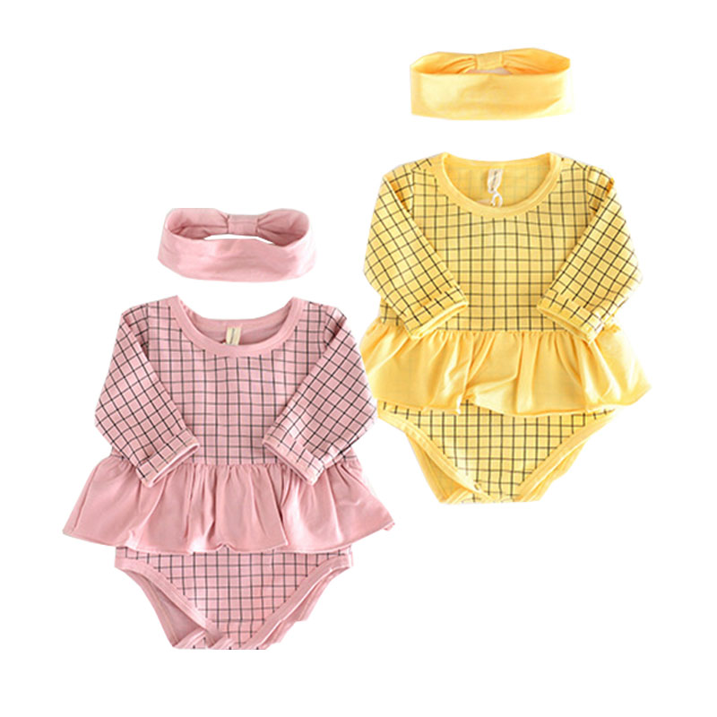2017 Baby Girl Clothes 2pcs Clothing Sets Infant Pink Yellow Cotton Tutu Ruffles Rompers+Headband Newborn Girls Suits Costumes new baby girl clothing sets lace tutu romper dress jumpersuit headband 2pcs set bebes infant 1st birthday superman costumes 0 2t