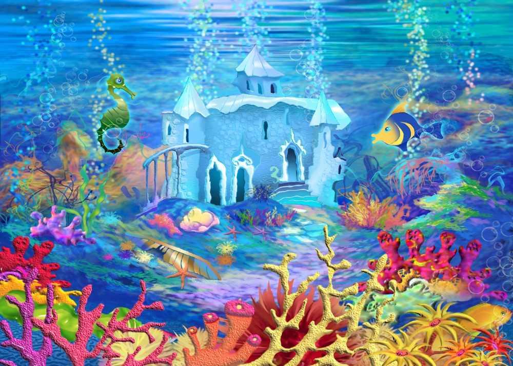 DePhoto การถ่ายภาพฉากหลังภายใต้ Sea Mermaid Seabed Palace เด็กวันเกิดภาพพื้นหลัง Photocall พิมพ์