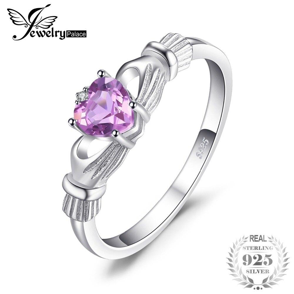 JewelryPalace corazón 0.5ct irlandés Claddagh Natural Amethyst Birthstone Promise anillo 925 joyería de plata esterlina 2018 nuevo para las mujeres