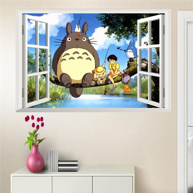 Cartoon Hayao Totoro Baum Wandaufkleber Für Kinderzimmer 3d Effekt