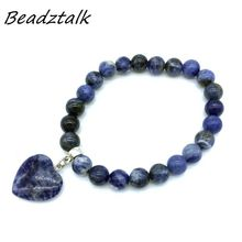 BEADZTALK Wholesale 5pcs Natural Stone 8mm Beads and Heart Tiger eye Bracelets For Women Or Girl Gifts Trendy Style