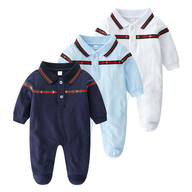 91e0b9c9a2e 2019 Spring European Baby white and dark blue long-sleeved cotton piece  Romper climbing clothes