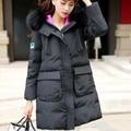 Envío libre más el tamaño s-5xl para 100 kg de lana de invierno cuello con capucha negro medio-largo abajo cubren a la hembra mujeres chaquetas y abrigos