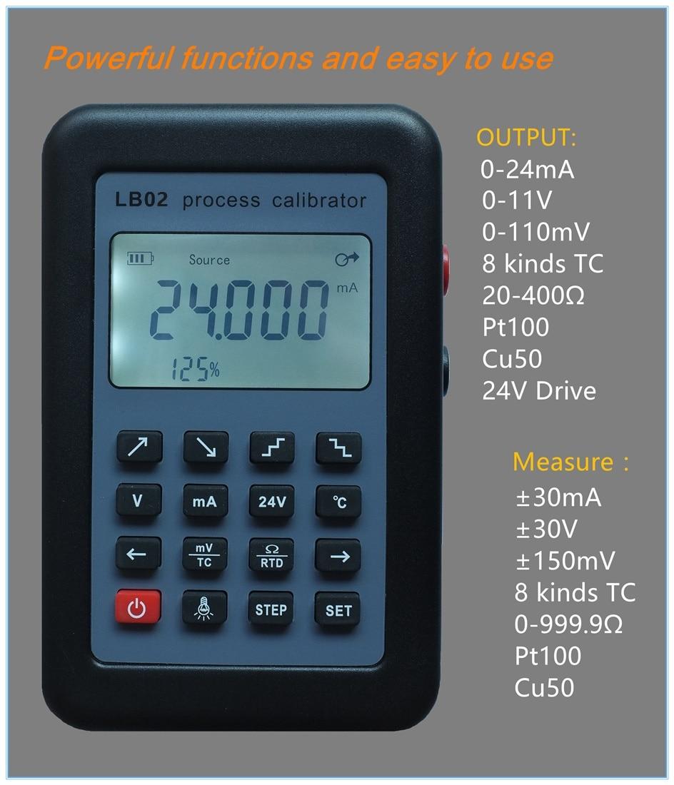 LB02 Измеритель сопротивления напряжения 4-20mA 0-10 В/мВ генератор сигналов Источник термопары PT100 Температурный процесс тестер калибровки