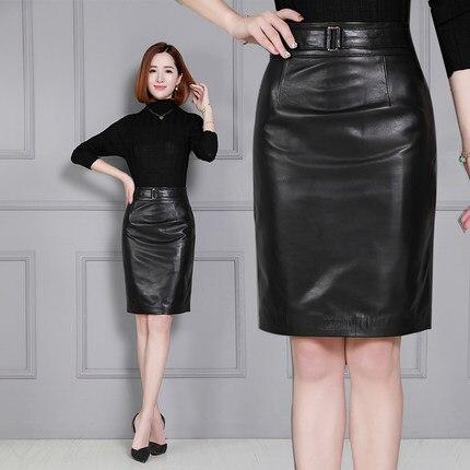 Sheepskin Skirt Slim Wrap Hip Leather Skirt K51