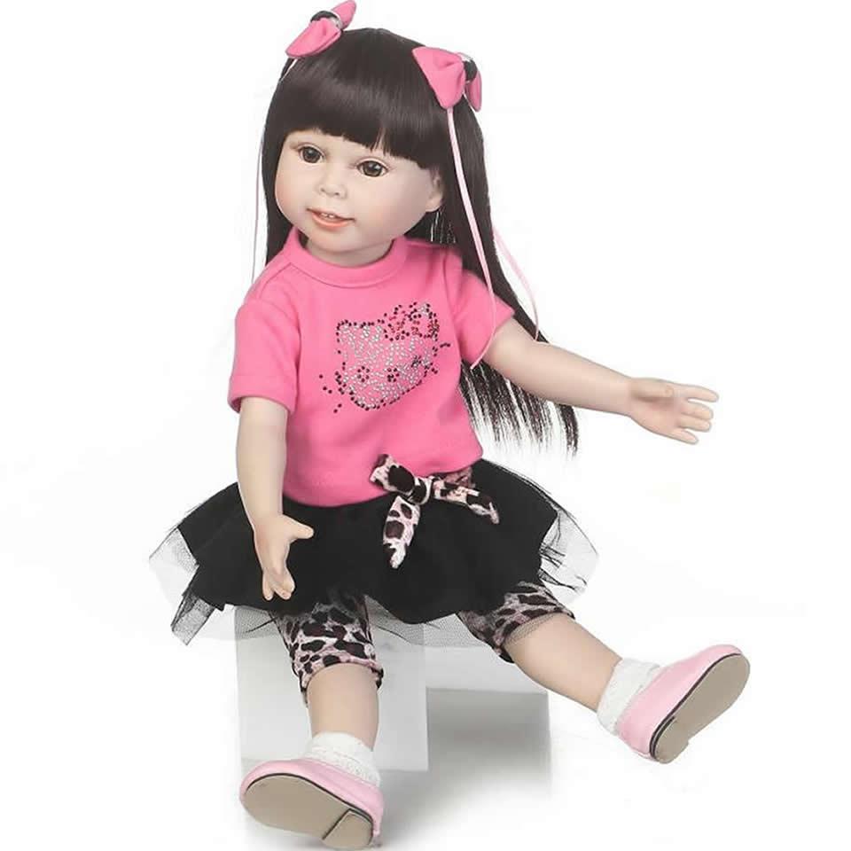 Fashion Long Hair American Dolls 18 inch Vinyl Alive Babies Doll Full Body 45 cm Realistic Smile American Girl Kids Toy аммоний фтористый кислый купить в пензе