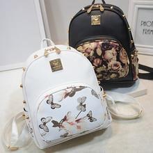 Été floral arc en cuir sac à dos pour les adolescentes de mode rivet petit sac à dos arc femelle sacs occasionnels femmes sacs à dos