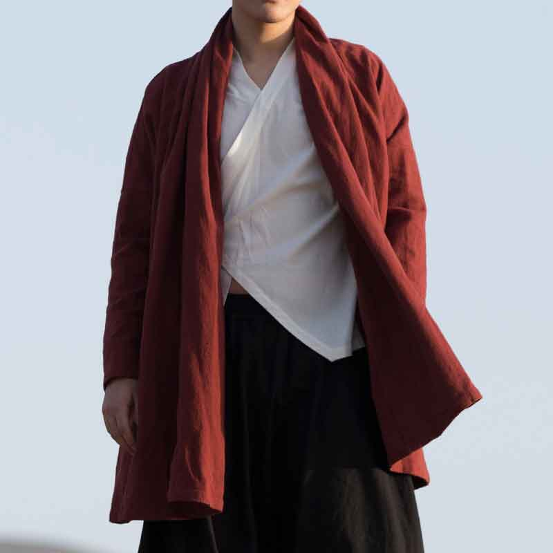 MRDONOO Chinese wind trench coat retro in the long paragraph linen loose large size Chinese Hanfu Buddha men's cotton jacket F21