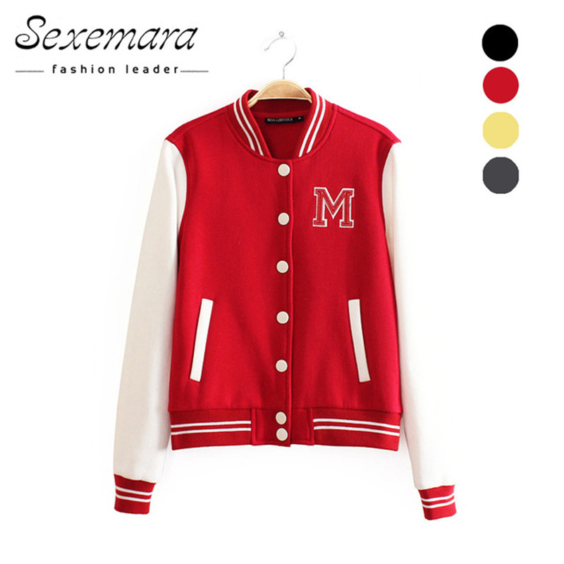 M logo classical bomber ladies jacket women coat female autumn casual cardigan team patchwork Baseball o-neck tops bolero 2018