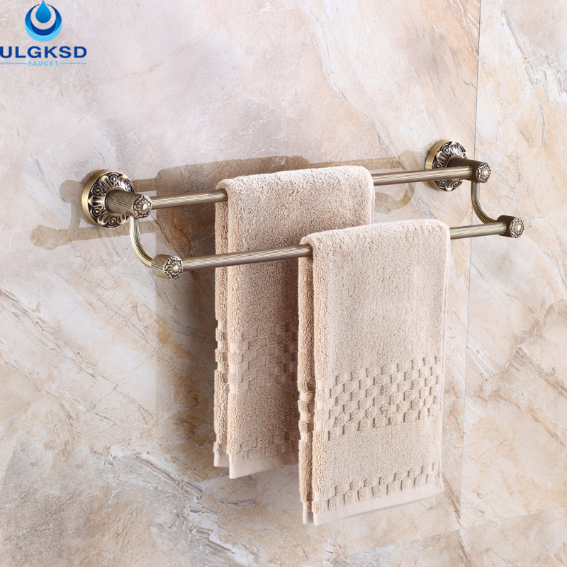 ULGKSD Special Process Bathroom Accessory Double Shelves Towel Bar for Bathroom Wall Mount Bath Towel Rack Antique Brass bathroom shelves antique brass with ceramic towel rod towel rack hangers bar bathroom accessories luxury bath wall shelf hj 1812