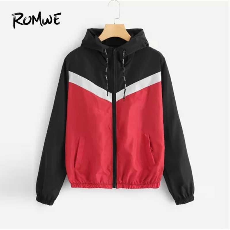 Romwe スポーツレッドブラックカラーブロックジッパー閉鎖フード付きランニングジャケット女性巾着帽子ワークアウトエクササイズスポーツ上着