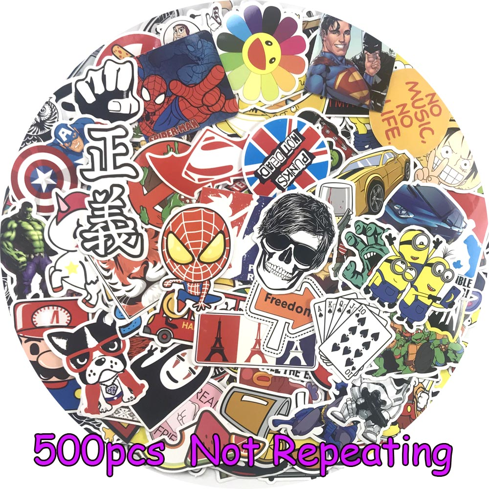 500 Pcs Waterpoof Sticker For Laptop Skateboard Luggage Creative Funny Decals Fridge Phone Car Styling Home Toy Doodle Stickers