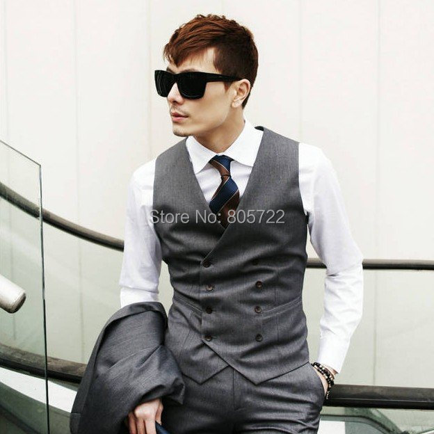 custom made Wool mens Suit grey color double brested vest+pant ...
