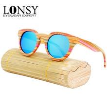 LONSY Fashion Color Handmade Original Bamboo Wooden Sunglasses Polarized Brand Designer Vintage Round Sun Glasses UV400