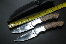 Shadow Wood handle Fixed blade 9Cr17mov Hunting Camping knifes Survival Knife Outdoor rescue knives with leather sheath