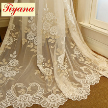 Embroidery Curtains Valance For Bedroom Living Room Window Screening Korean Rustic White Flower Voile Tulle Curtains WP364 *30