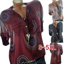 2019 new large size womens blouse summer print short-sleeved shirt female S-5XL