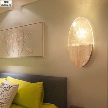 8 W אור Led עבור חדר שינה סלון קיר מעץ מלא מעבר מסדרון מנורה שליד המיטה מנורת קיר יצירתי קישוט הבית מקורה Led