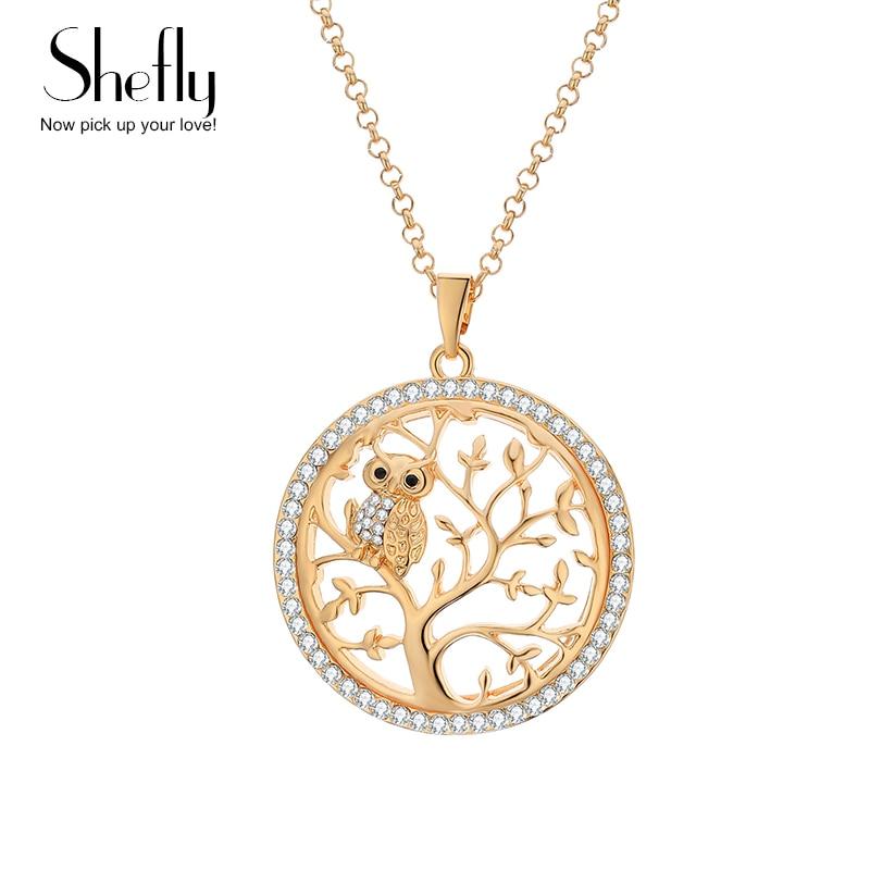 მცირე ზომის Owl ყელსაბამი სიცოცხლის ხე გულსაკიდი ვარდისფერი ოქროს ქალთა სვიტერი ჯაჭვი კრისტალი გრძელი ყელსაბამები და გულსაკიდი განცხადება საიუველირო Bijoux