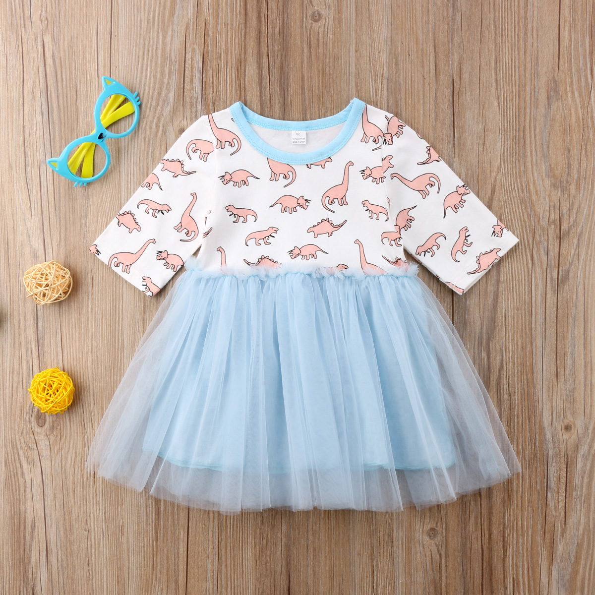 2018 Leuke Peuter Kids Baby Meisje Dinosaurus Blauw Patchwork Tulle Mesh Jurk Lange Mouw Jurk Kleding Yu