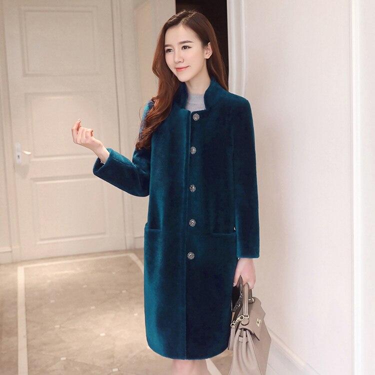 เสื้อแจ็คเก็ตสตรีฤดูหนาว 2019 หญิง Sheepskin ขนสัตว์แจ็คเก็ตฤดูใบไม้ร่วงเสื้อผ้า Oversize Outwear ขนสัตว์ Lady Elegant เกาหลีแกะขนสัตว์-ใน ขนสัตว์จริง จาก เสื้อผ้าสตรี บน   2