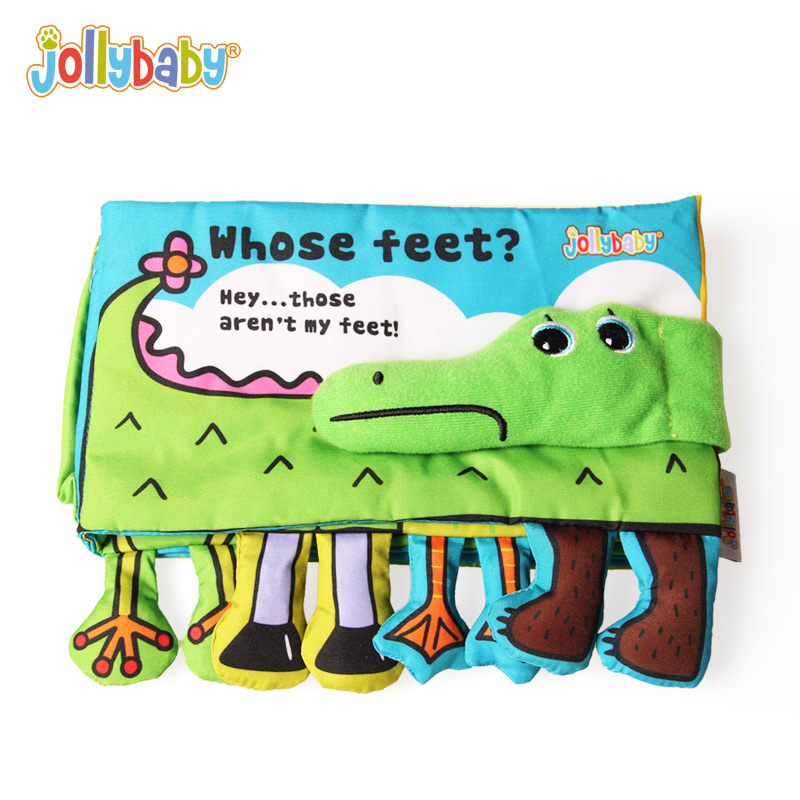 Jollybaby Whose feet Soft Cloth Activity Books Animal Feet Match Game Alligator Educational Infant Baby Toys