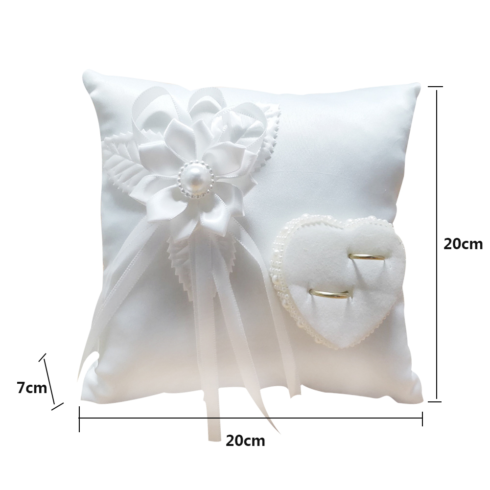 Wedding Ring Pillow Romantic Stylish White Square Flower Ring