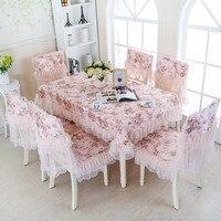 Wysokiej jakości Prostokątna Gospodarstwa Domowego Pyłoszczelna Osłona Koronki obrus stół Krzesła Krzesło Poduszki Zestawy