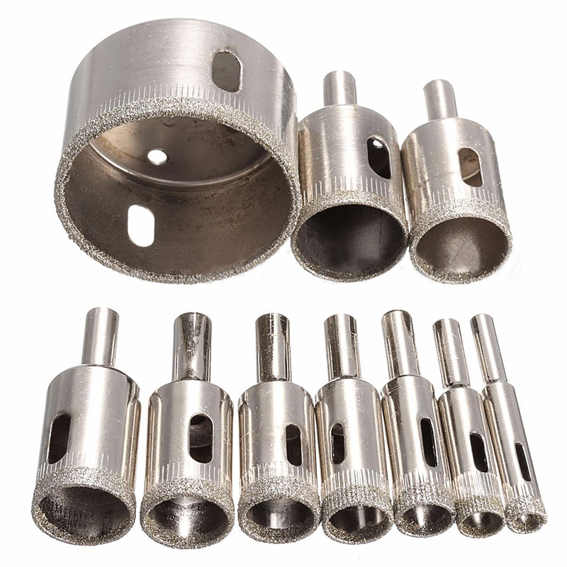 10pcs Diamond Coated Hole Saw Drill Bit Tool Set 8/10/12/14/16/18/20/22/25/50mm For Tile Ceramic Marble Glass 10pcs set diamond tool drill bit hole saw for glass ceramic marble tile 3 50mm power tool