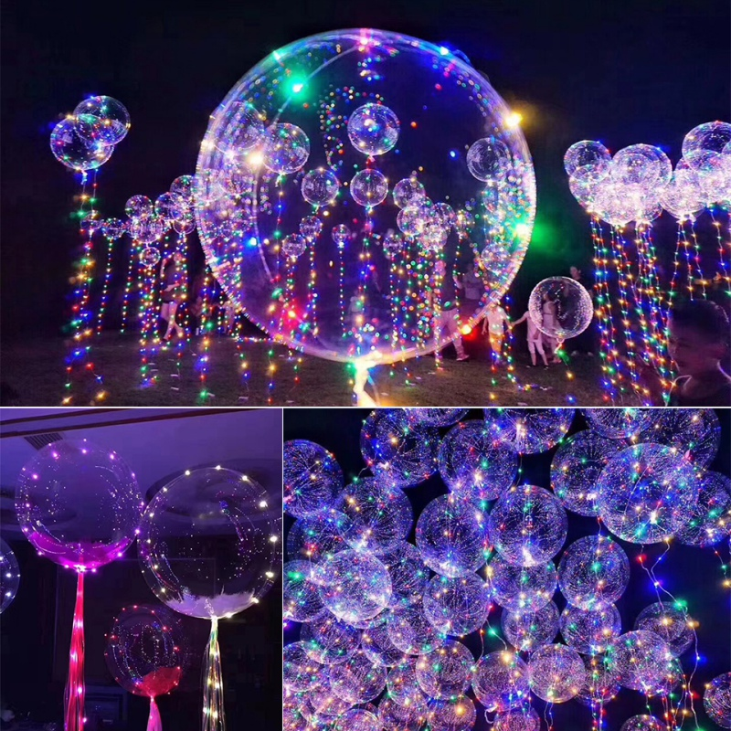 Wholesale 1pcs No Wrinkle Clear Bobo Balloon With 3m Led
