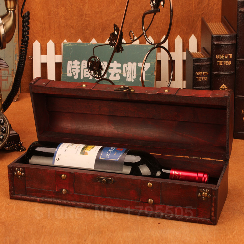 Wooden antique wine box retro packaging gift grape wine for Wooden wine box garden