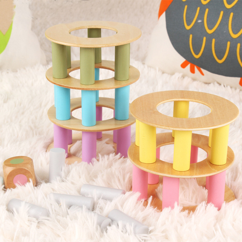 44 PCS Wooden Stacking Board Math Game Tumble Tower Building Block Fun Funny Novelty Interesting Toys For Children Birthday Gift