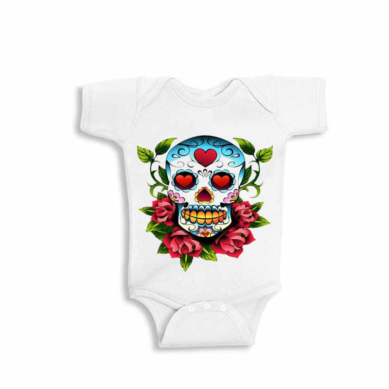 YSCULBUTOL Del Cranio e di Rosa Del Tatuaggio tuta Del Bambino Giorno dei morti del cranio della camicia Carino Rockabilly 0 ~ 12 m