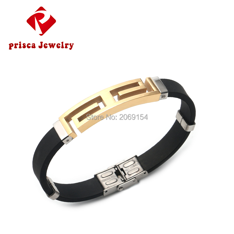 Punk Charm Men Boy Rubber Cuff Wristband Stainless Steel Silicon Bangle Bracelet