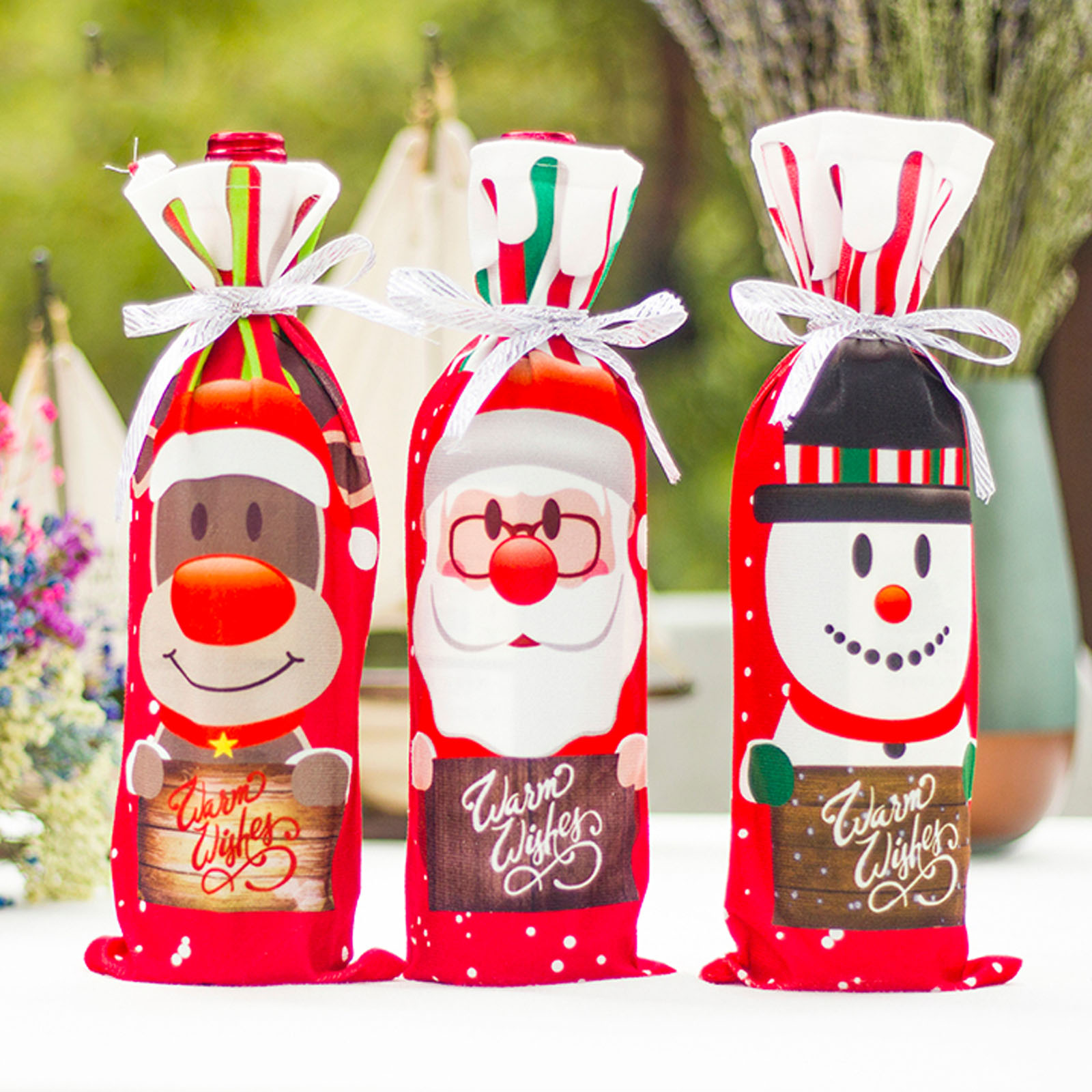 Christmas Wine Bag Decor Set Santa Claus Snowman Deer Bottle Cover Clothes Kitchen Decoration for New Year Xmas Party Supplies