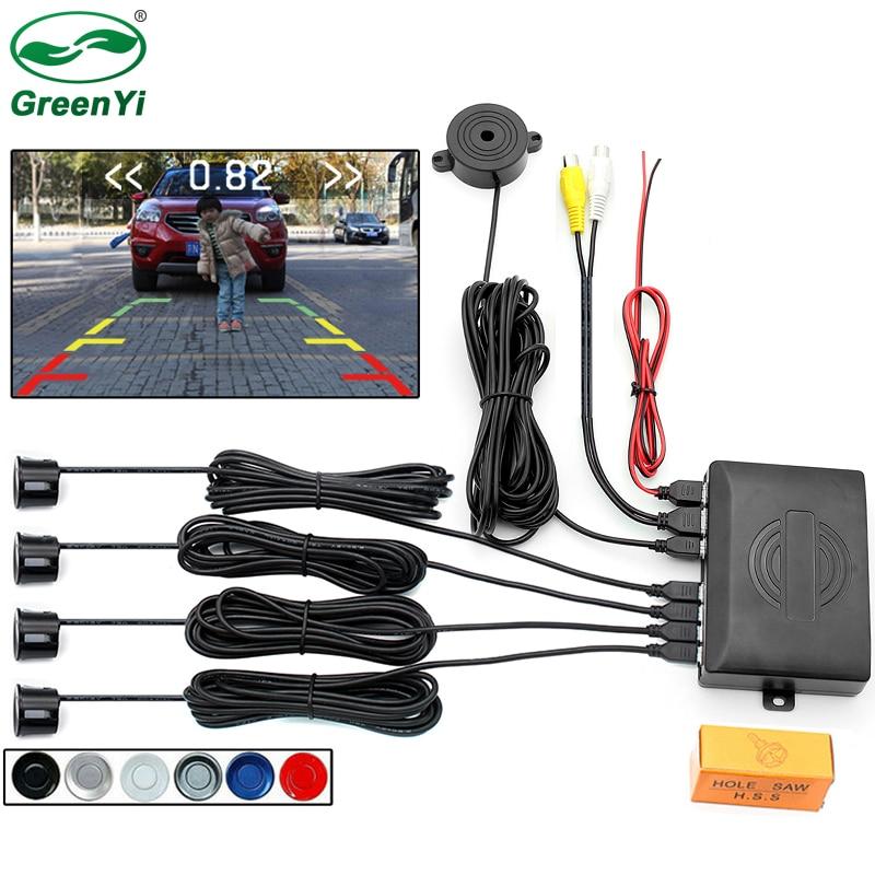 8d2988c9407 GreenYi Video Parking 4 Sensors Car Reverse Backup Rear Buzzer Radar  Monitor System
