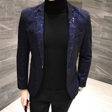 Brand Fashion Casual Men's Suits Dark flower British Slim Suit Jacket Business Suits Wedding Banquet Jacket Young Man Suit